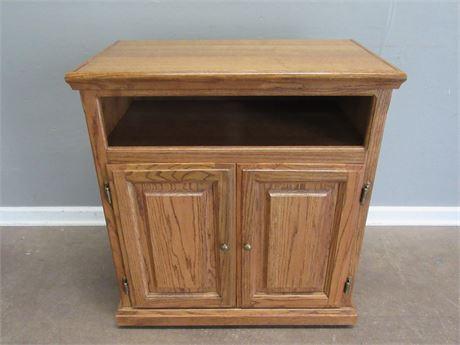 Oak Utility Cabinet/Cart on Casters