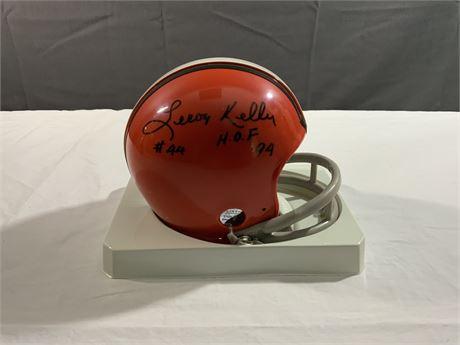 LeRoy Kelly AUTOGRAPH Riddell Mini Helmet HOF