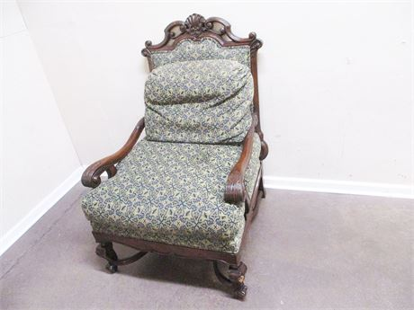 VINTAGE CARVED UPHOLSTERED ARM CHAIR