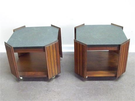 PAIR OF SMALL VINTAGE LANE LAMINATE TOP  COFFEE TABLES ON CASTERS