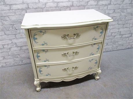 3-DRAWER BLUE AND WHITE FRENCH PROVINCIAL CHEST