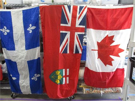 LOT OF 5 FLAGS - INCLUDING CANADA