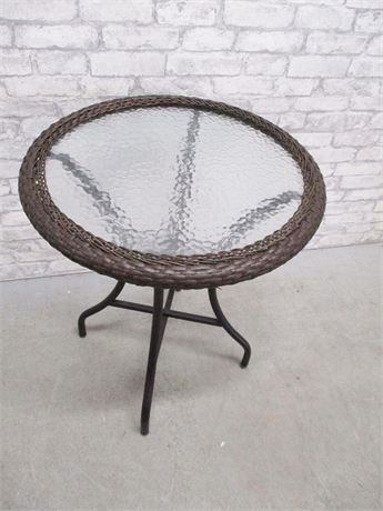GLASS PATIO SIDE TABLE