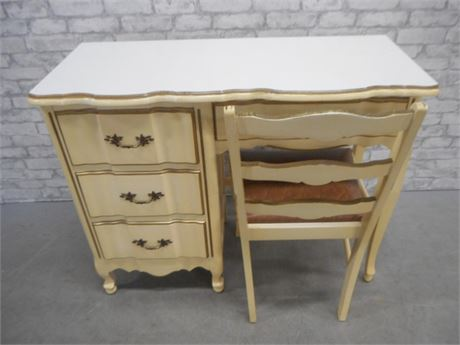 VINTAGE FRENCH PROVINCIAL SERPENTINE FRONT DESK WITH CHAIR