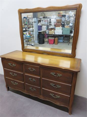 DREXEL French Provincial Triple Dresser & Mirror