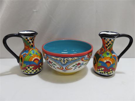 Hand-Painted Pottery Lot