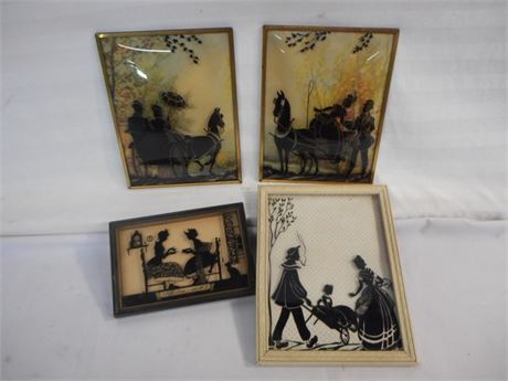 4 ANTIQUE VICTORIAN REVERSE PAINTED SILHOUETTE PICTURES