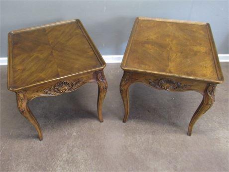 2 Henredon Side Tables with Nice Carved Details