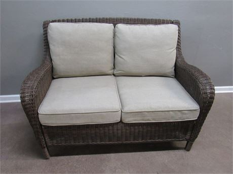 Synthetic Wicker Patio Loveseat with Cushions