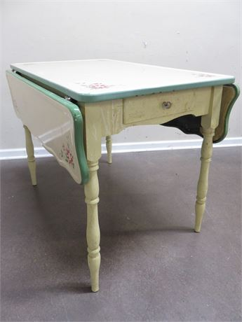 Vintage PORCE-NAMEL Drop Leaf Table