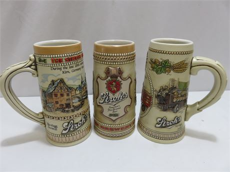 3 STROH'S Heritage Series Collectible Steins - Series II, III, V