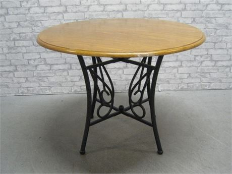 OAK TOP WROUGHT IRON DINING TABLE