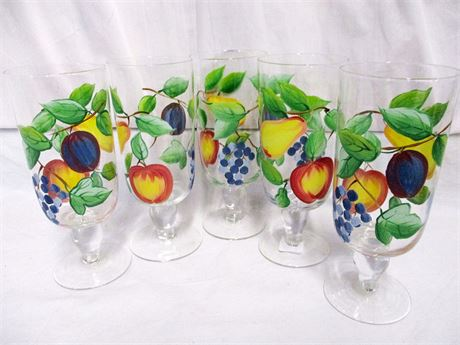 LOT OF 5 PAINTED FOOTED ICED TEA GLASSES