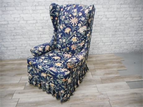 DEEP BLUE FLORAL SLIPCOVERED HIGHBACK WINGBACK OCCASIONAL CHAIR