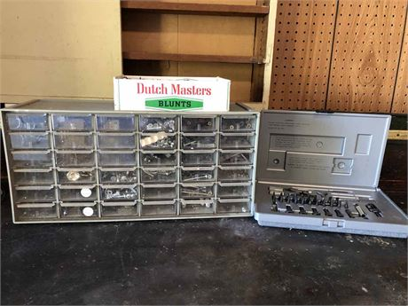 Screw And Nail Bin Cabinet Lot