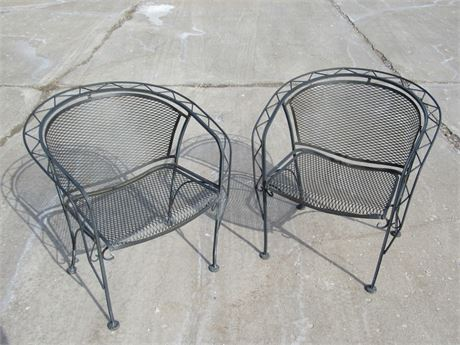 OUTDOOR/PATIO FURNITURE - 2 WROUGHT IRON AND WIRE MESH CHAIRS