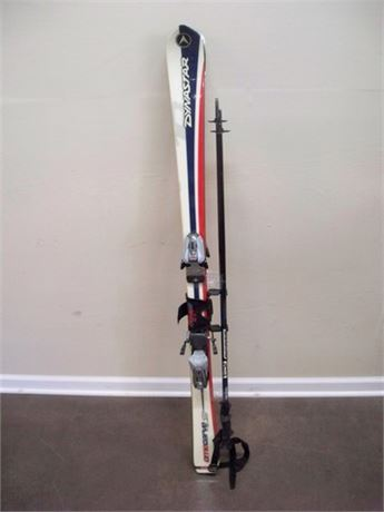DYNASTAR OMECARVE 10 148CM SKIS WITH BINDINGS AND SCOTT SERIES 2 SYNERGY POLES