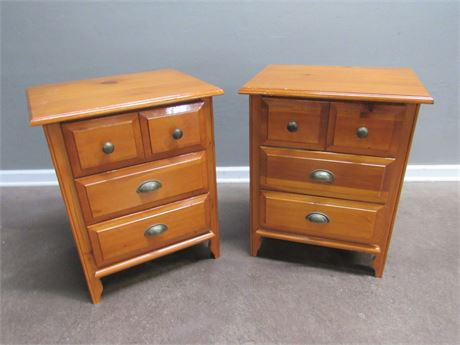 2 Knotty Pine 3-Drawer Nightstands