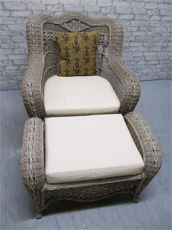 BEAUTIFUL WICKER CHAIR AND OTTOMAN