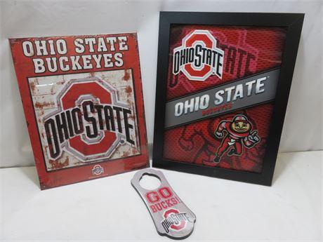 OHIO STATE BUCKEYES Wall Signs & Hanger