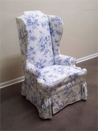 BLUE AND WHITE FLORAL UPHOLSTERED HIGH BACK WING-BACK CHAIR