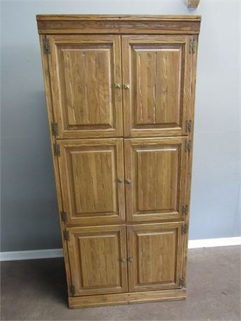 Vintage A. Brandt Ranch Oak Bedroom Wardrobe/Armoire with Pull-out Desk