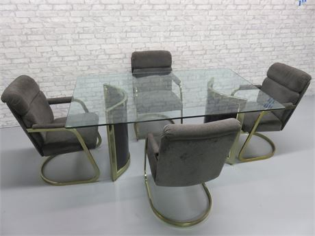 Contemporary Glass Top Dining Table Set