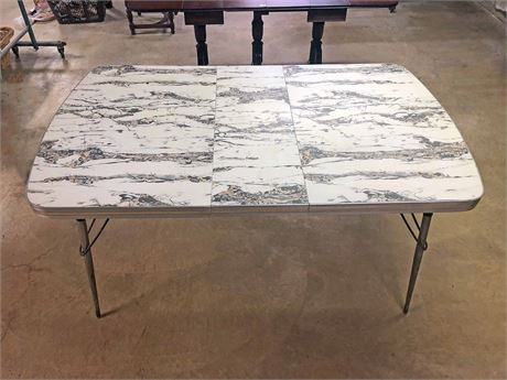 Mid Century Chrome Edge Dining Table