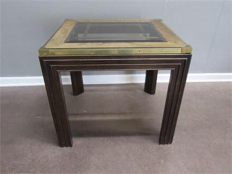 Side/End Table with Beveled Smoke Glass Top, Burl Wood Veneer and Brass Trim