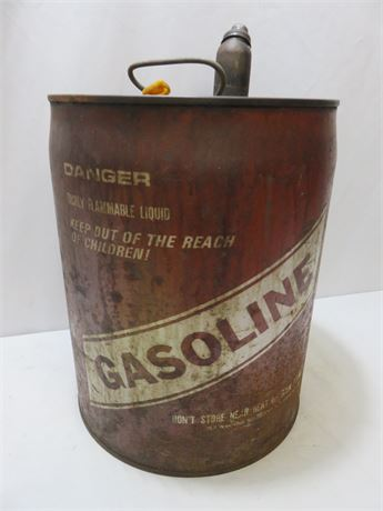 Vintage 5-Gallon Metal Gasoline Can