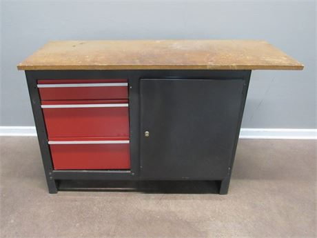 Tool/Storage Cabinet with Wood Workbench Top