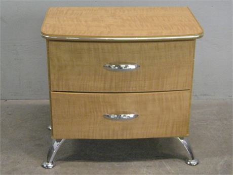 BLONDE & CHROME NIGHSTAND/CHEST
