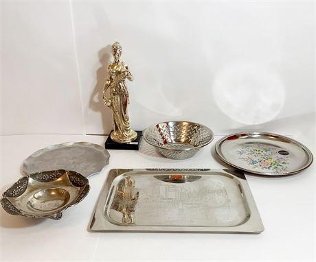 Italian Serving Plates and Figurine