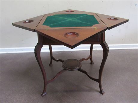 VINTAGE/ANTIQUE SIDE/GAME TABLE WITH CABRIOLE LEGS