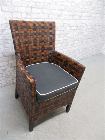WICKER ARM CHAIR WITH CUSHION