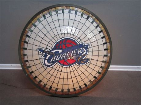 One of Kind Large Leaded Slag Glass Shade with the Cavaliers Logo