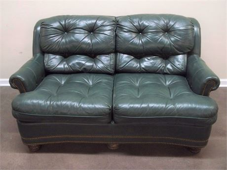 HANCOCK AND MOORE GREEN LEATHER LOVESEAT WITH NAILHEAD TRIM