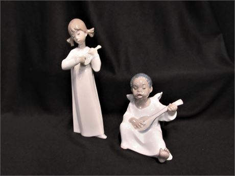 2 Lladro Figurines - Girl and Angel with Madolin/Lute