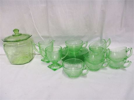 LOT OF GREEN GLASS INCLUDING DEPRESSION GLASS
