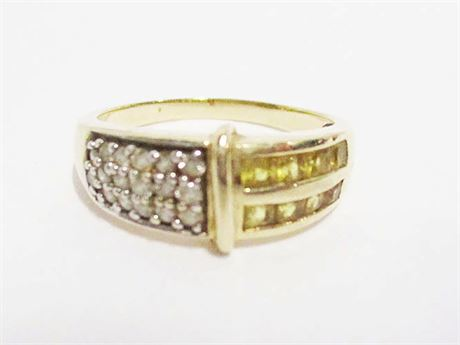 SIZE 10 14K GOLD RING WITH DIAMONDS AND YELLOW STONES
