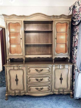 French Provincial Two Piece China Cabinet