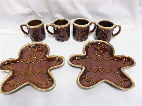 LOT OF HULL POTTERY GINGERBREAD PLATES AND MUGS