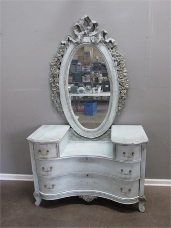 Vintage Vanity Dresser with Antiqued Painted Finish and Ornate Oval Mirror