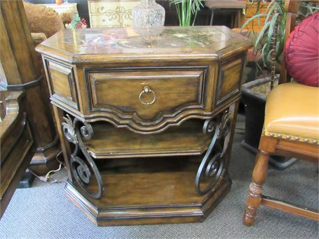 Great Looking Marge Carson Nightstand/Foyer Table/Credenza with Marble Top