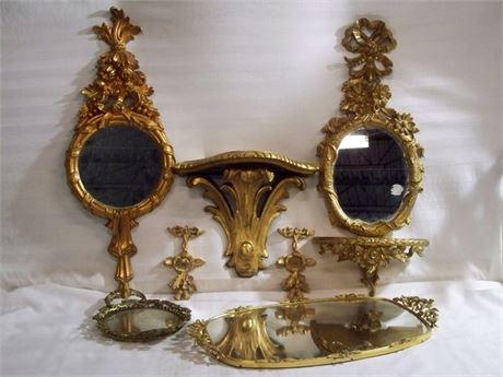 7 PIECE ORNATE GOLD FINISHED DECORATIVE LOT