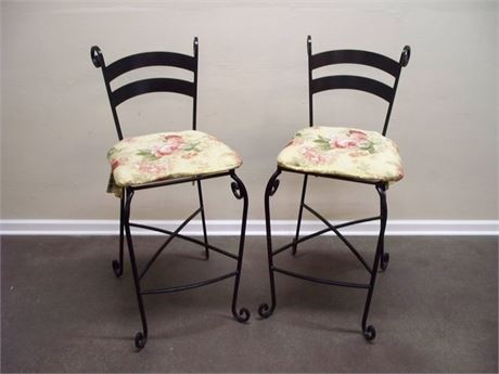 2 HEAVY WROUGHT IRON BISTRO/BAR STOOLS WITH CUSHIONS