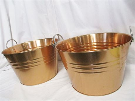 LOT OF 2 COPPER-LOOK BEVERAGE TUBS