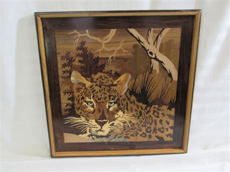 CAUVERY WOOD FRAMED ROSEWOOD INLAY LEOPARD