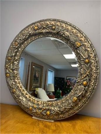 Round Gold Beveled Ornate  Mirror
