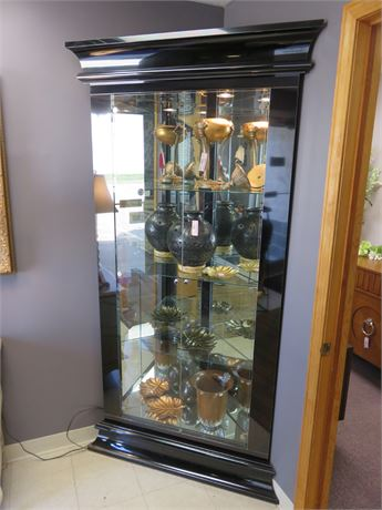 Black Lacquer Lighted Corner Curio